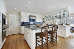 Kitchen with large center island Stock Photos
