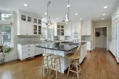 Kitchen with large granite island. Kitchen in luxury home with large granite island royalty free stock photography