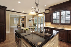 Kitchen with large island Stock Photography