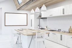 Kitchen with large poster Royalty Free Stock Images