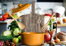 Kitchen a large wood board Royalty Free Stock Photography