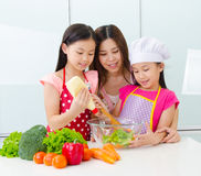 Kitchen lifestyle of asian family Stock Images
