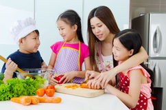 Kitchen lifestyle of asian family Royalty Free Stock Images