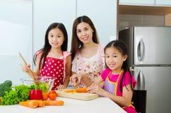 Kitchen lifestyle of asian family Stock Image