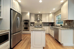 Kitchen with light colored cabinetry Royalty Free Stock Image