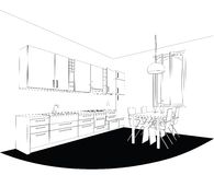 Kitchen line-drawing Stock Image