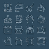 Kitchen line icon set Stock Photo