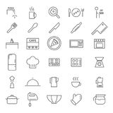30 Kitchen Line Icons Stock Photography