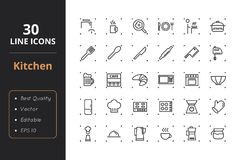 30 Kitchen Line Icons. High quality kitchen line icons. Icons for user interfaces and web Royalty Free Stock Images