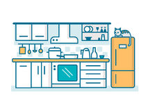 Kitchen linear flat. Interior furniture, table cook, household and oven, utensil and stove, line vector illustration Royalty Free Stock Image
