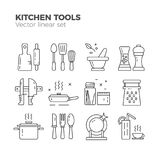 Kitchen linear icons stock illustration