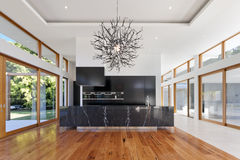 Kitchen and living area stock images