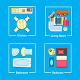 Kitchen and Living Room Set Vector Illustration. Kitchen and living room, bathroom and bedroom set of table and stove, armchair and sofa, tv set and carpet Stock Image