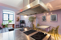Kitchen with living room Stock Photo