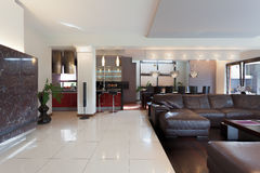 Kitchen, living room and dining room. In modern house stock image