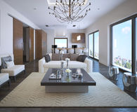 Kitchen and living room of OntoArt apartment Stock Image