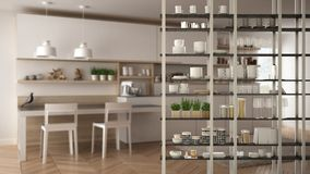 Kitchen living room shelving system foreground close-up, interior design concept, white modern room open plan. In the background royalty free illustration