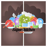 Kitchen logo. Cooking colored doodle logo with utensil. Vector illustration Royalty Free Stock Photo