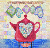 Kitchen love. Beautiful card with red teapot on the fire, hearts and potholders.  Royalty Free Stock Photography