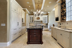 Kitchen in luxury home royalty free stock photography