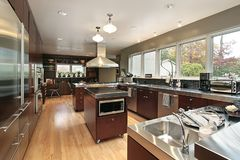 Kitchen in luxury home stock photography