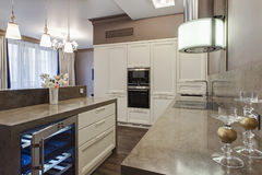Kitchen in luxury home. With large center island Stock Photography