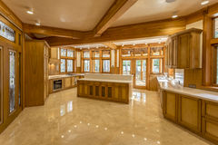 Kitchen made of wood in eco house Royalty Free Stock Photo