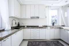 Kitchen with marble worktop Royalty Free Stock Photo