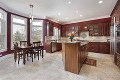 Kitchen with maroon walls Stock Image