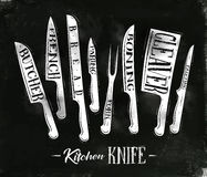 Kitchen meat cutting knifes poster Stock Images