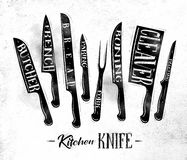 Kitchen meat cutting knifes poster chalk. Poster kitchen meat cutting knifes butcher, french, bread, paring, fork, boning, cleaver, filleting drawing in vintage Stock Photography