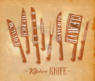 Kitchen meat cutting knifes poster craft Royalty Free Stock Photography