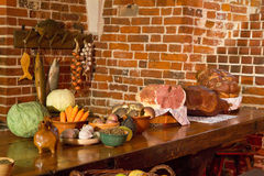 Kitchen at the medieval castle Royalty Free Stock Photos