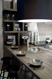 Kitchen with metal elements stock photos