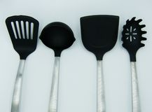 Kitchen metal utensils stock photos