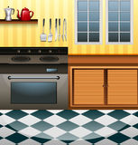 Kitchen with microwave and counter. Illustration Royalty Free Stock Image