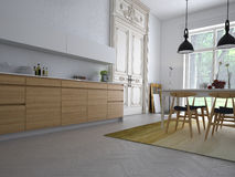 Kitchen. Modern kitchen in a apartment stock illustration