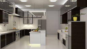 Kitchen. Modern clean white kitchen with center nook. 3D rendering Stock Photos
