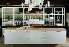 Kitchen of modern design. Vista of a kitchen of modern design, with casseroles and utensils stock photos