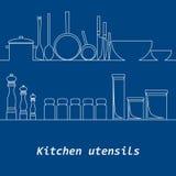 Kitchen mono line kitchen tools silhouette Royalty Free Stock Photo