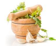 Kitchen mortar with garlic and parsley Stock Photo