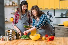 Kitchen mother daughter making salad diet veggies. Kitchen time. Mother daughter making salad. Healthy eating habit vegetarian lifestyle. Females on diet royalty free stock images