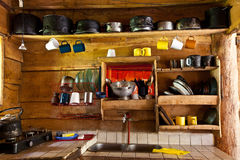 Kitchen in a mountain refuge Stock Photo