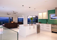 Kitchen With Mountain Views. Outlook from a kitchen and living room with mountain views Royalty Free Stock Image
