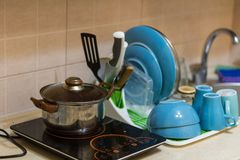 Pure cookware in the kitchen royalty free stock photography