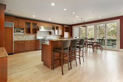 Kitchen in new construction home. With eating area Stock Photos
