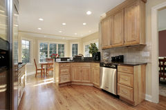 Kitchen with oak cabinetry Stock Photo