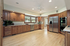 Kitchen with oak wood cabinetry Royalty Free Stock Photo