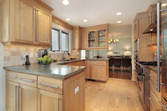 Kitchen with oak wood paneling Stock Photography