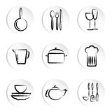 Kitchen object icons Royalty Free Stock Photos